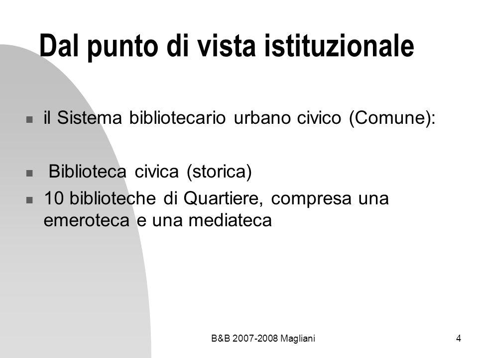 B&B 2007-2008 Magliani4 Dal punto di vista istituzionale il Sistema bibliotecario urbano civico (Comune): Biblioteca civica (storica) 10 biblioteche di Quartiere, compresa una emeroteca e una mediateca