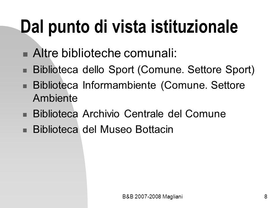 B&B 2007-2008 Magliani9 Dal punto di vista istituzionale Biblioteche scolastiche Biblioteche licei (Tito Livio, Nievo, Fermi, Cornaro, Gramsci …) Biblioteca del Conservatorio Biblioteche altre scuole