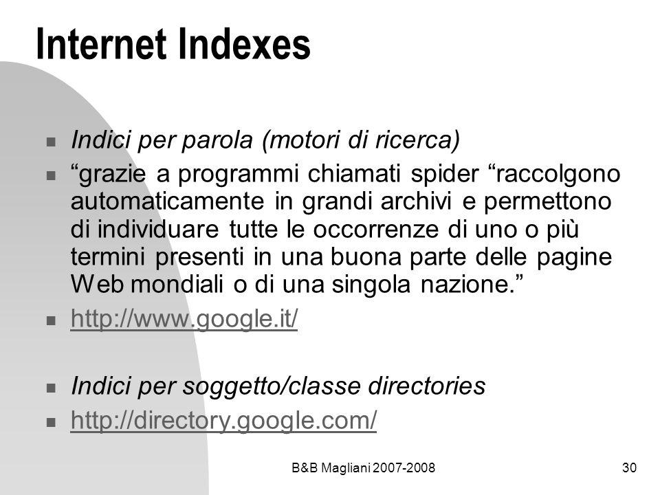 B&B Magliani 2007-200830 Internet Indexes Indici per parola (motori di ricerca) grazie a programmi chiamati spider raccolgono automaticamente in grand