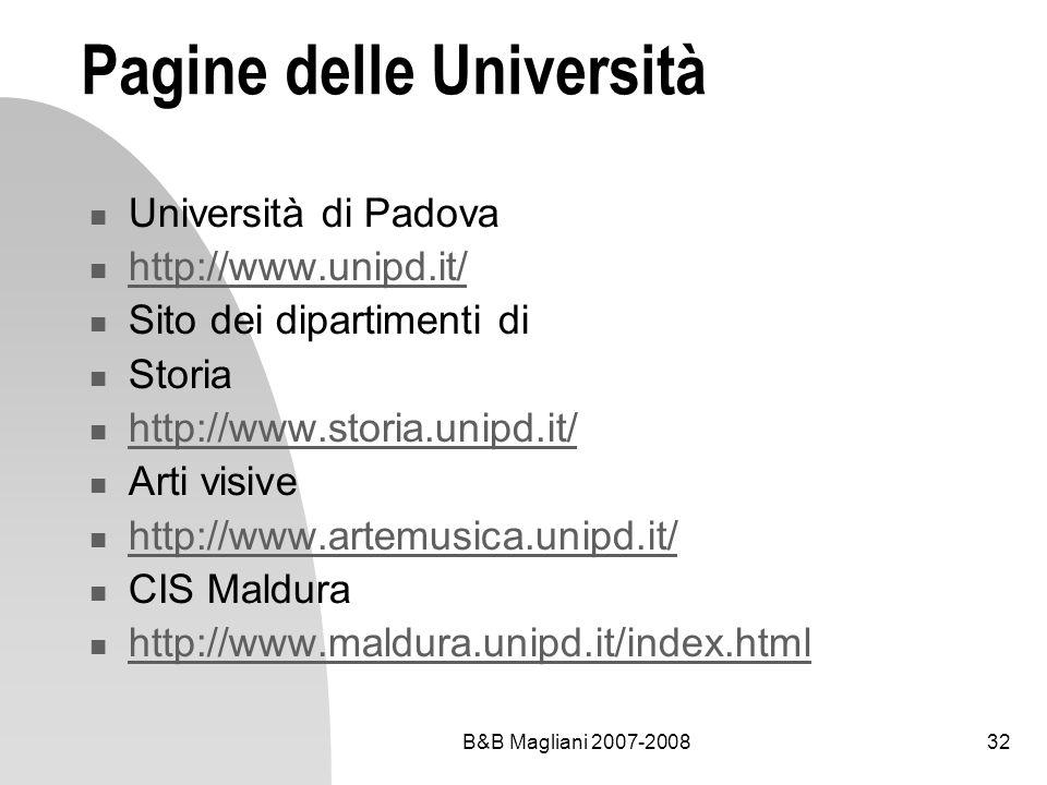 B&B Magliani 2007-200832 Pagine delle Università Università di Padova http://www.unipd.it/ Sito dei dipartimenti di Storia http://www.storia.unipd.it/