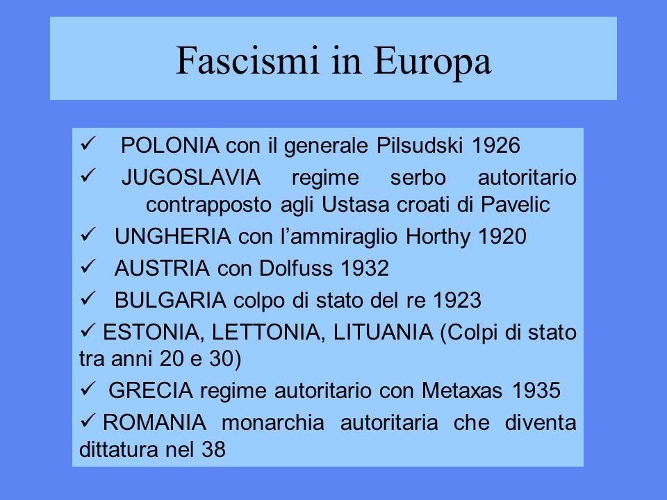 Fascismi in Europa POLONIA con il generale Pilsudski 1926 JUGOSLAVIA regime serbo autoritario contrapposto agli Ustasa croati di Pavelic UNGHERIA con