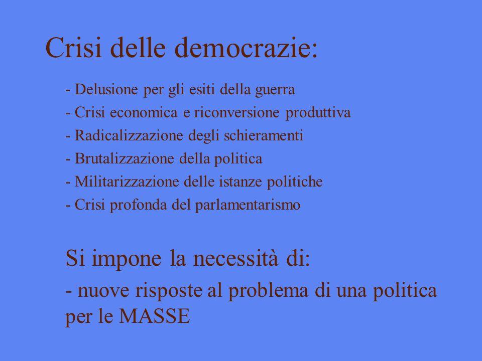 Crisi delle democrazie: - Delusione per gli esiti della guerra - Crisi economica e riconversione produttiva - Radicalizzazione degli schieramenti - Br