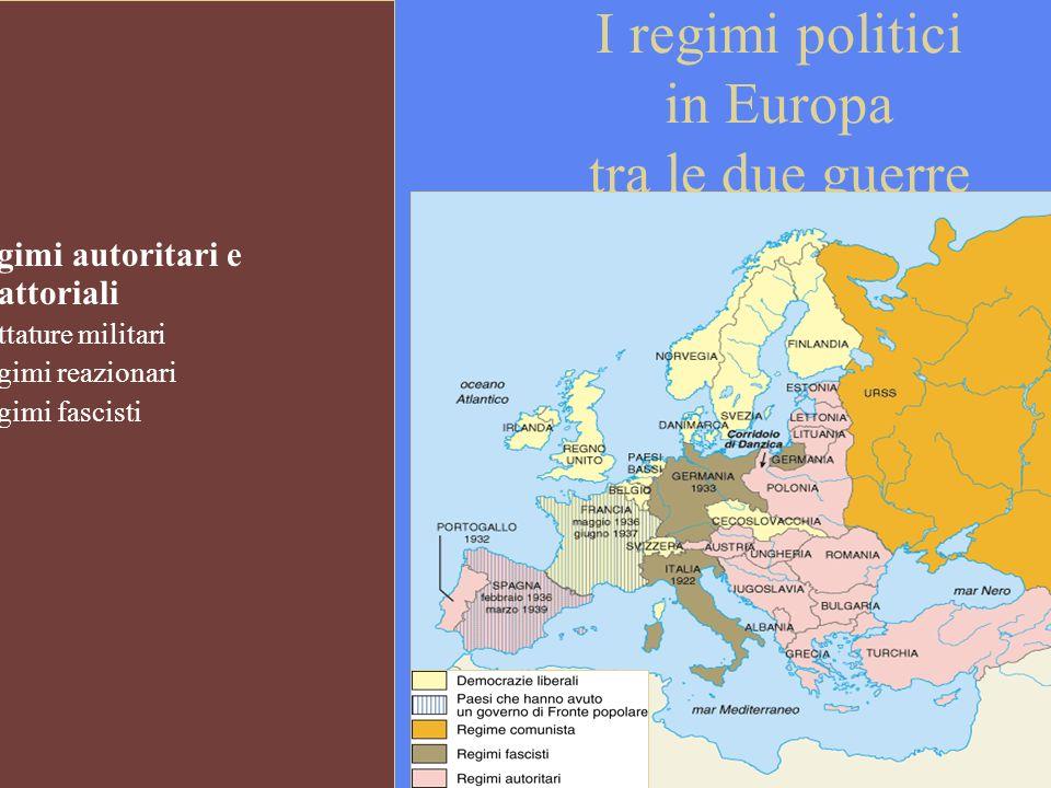 I regimi politici in Europa tra le due guerre Regimi autoritari e ditattoriali - dittature militari - regimi reazionari - regimi fascisti