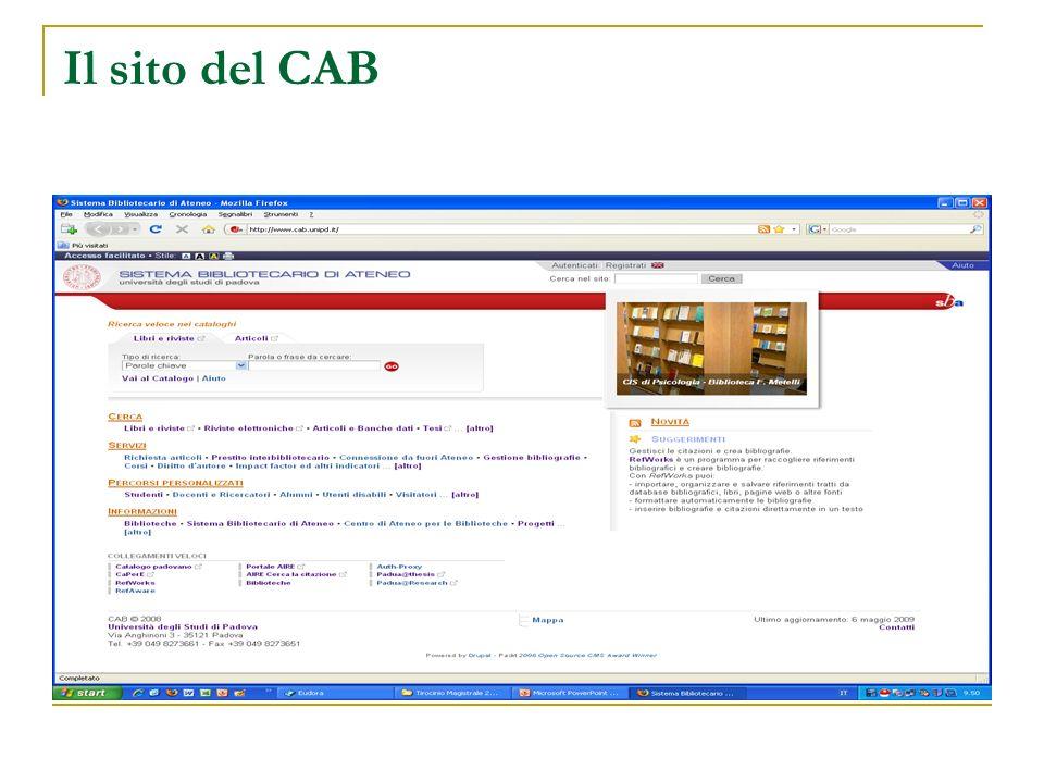 Il sito del CAB