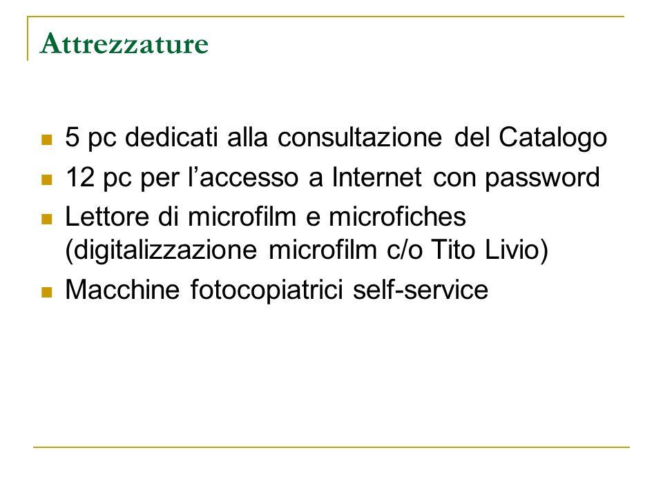 Attrezzature 5 pc dedicati alla consultazione del Catalogo 12 pc per laccesso a Internet con password Lettore di microfilm e microfiches (digitalizzazione microfilm c/o Tito Livio) Macchine fotocopiatrici self-service