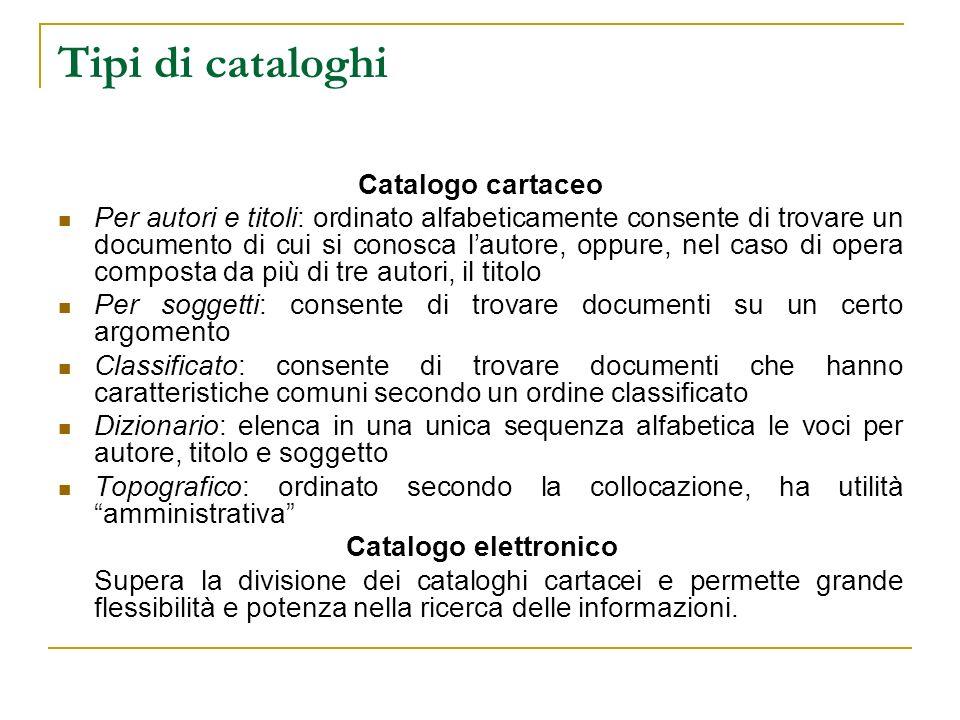 Tipi di cataloghi Catalogo cartaceo Per autori e titoli: ordinato alfabeticamente consente di trovare un documento di cui si conosca lautore, oppure,