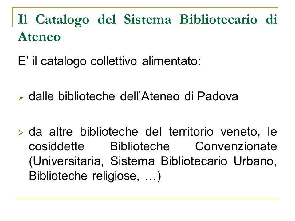 Il Catalogo del Sistema Bibliotecario di Ateneo E il catalogo collettivo alimentato: dalle biblioteche dellAteneo di Padova da altre biblioteche del t