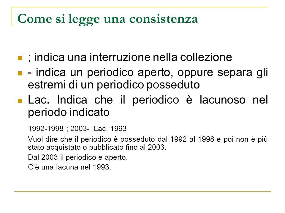Come si legge una consistenza ; indica una interruzione nella collezione - indica un periodico aperto, oppure separa gli estremi di un periodico posseduto Lac.