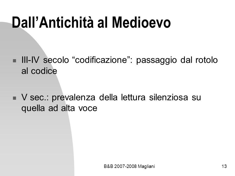 B&B 2007-2008 Magliani13 DallAntichità al Medioevo III-IV secolo codificazione: passaggio dal rotolo al codice V sec.: prevalenza della lettura silenz