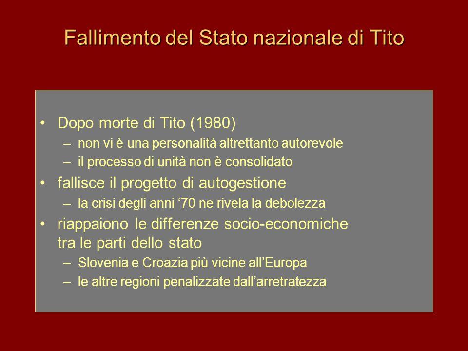 Fallimento del Stato nazionale di Tito Dopo morte di Tito (1980) –non vi è una personalità altrettanto autorevole –il processo di unità non è consolid