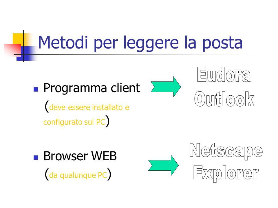 Metodi per leggere la posta Programma client ( deve essere installato e configurato sul PC ) Browser WEB ( da qualunque PC )