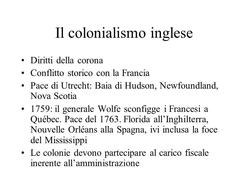 Il colonialismo inglese Diritti della corona Conflitto storico con la Francia Pace di Utrecht: Baia di Hudson, Newfoundland, Nova Scotia 1759: il gene