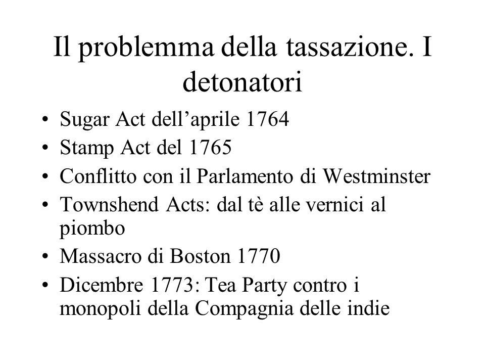 Il problemma della tassazione. I detonatori Sugar Act dellaprile 1764 Stamp Act del 1765 Conflitto con il Parlamento di Westminster Townshend Acts: da