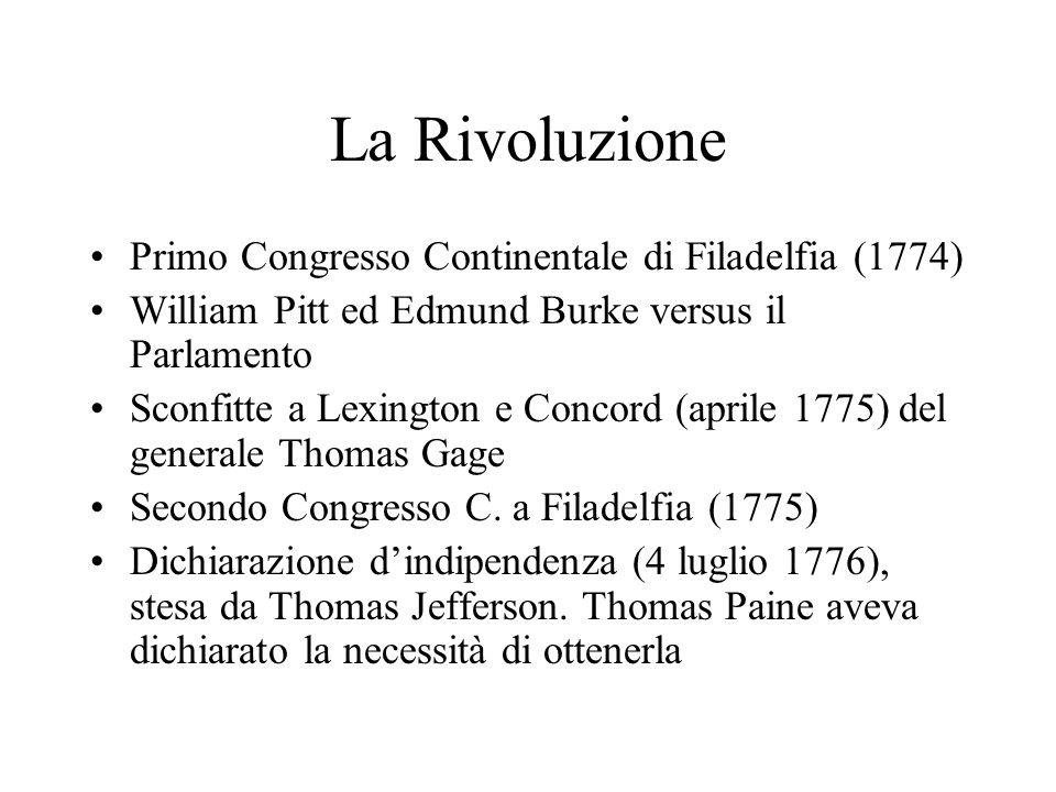 La Rivoluzione Primo Congresso Continentale di Filadelfia (1774) William Pitt ed Edmund Burke versus il Parlamento Sconfitte a Lexington e Concord (ap