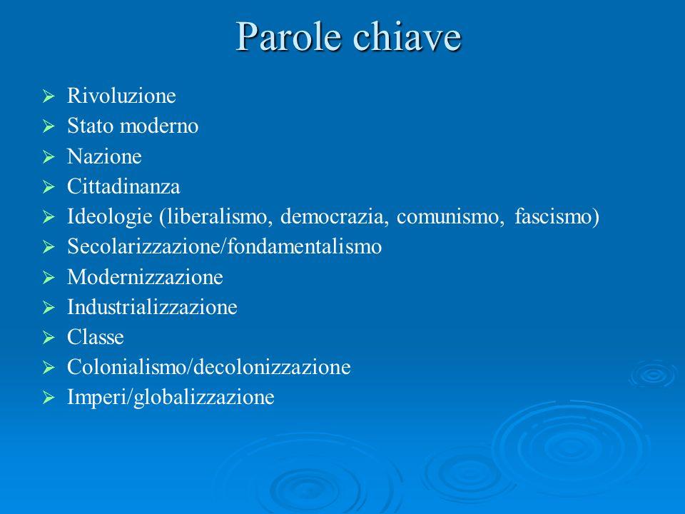 Parole chiave Rivoluzione Stato moderno Nazione Cittadinanza Ideologie (liberalismo, democrazia, comunismo, fascismo) Secolarizzazione/fondamentalismo