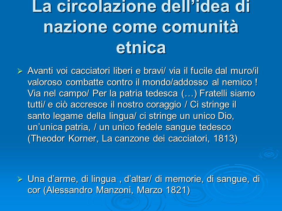 Gli elementi costitutivi della nazione come comunità di discendenza La storia La storia La cultura La cultura Il popolo Il popolo