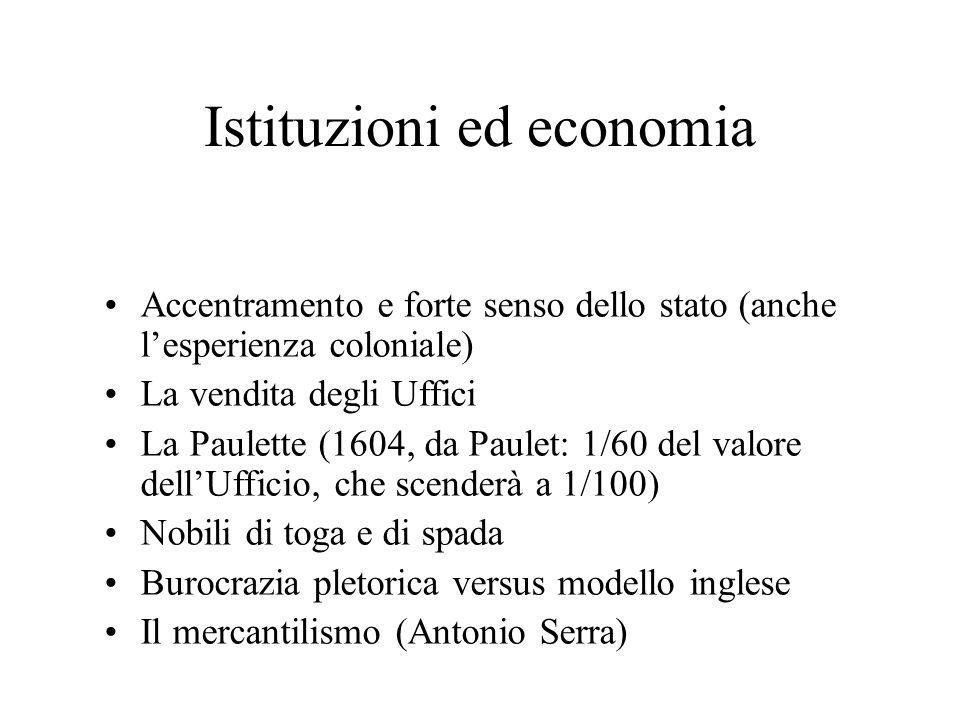 Istituzioni ed economia Accentramento e forte senso dello stato (anche lesperienza coloniale) La vendita degli Uffici La Paulette (1604, da Paulet: 1/