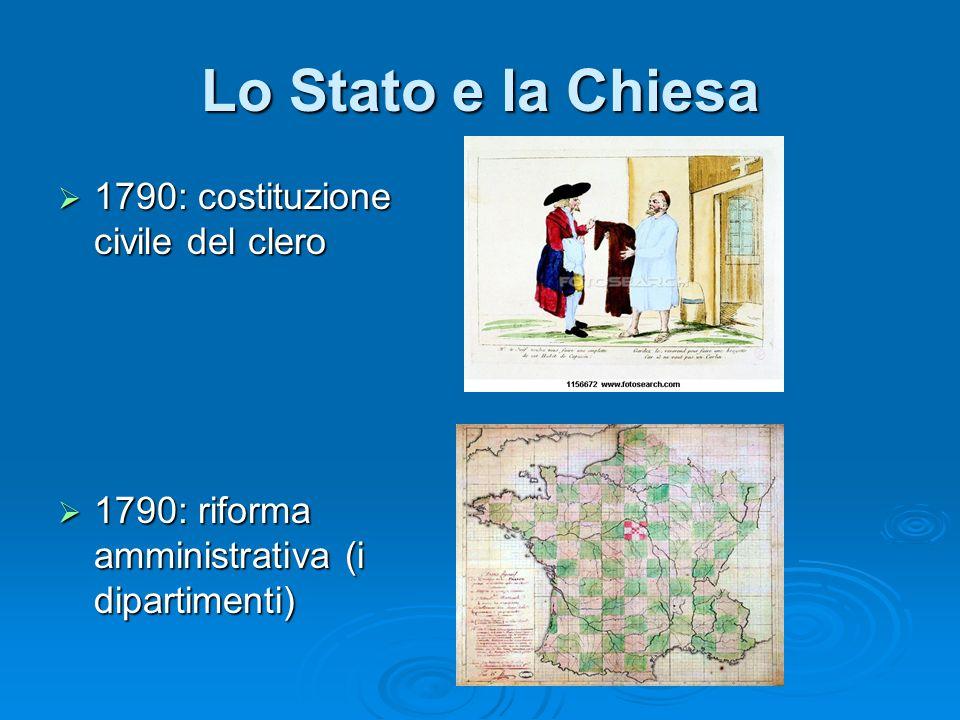 Lo Stato e la Chiesa 1790: costituzione civile del clero 1790: costituzione civile del clero 1790: riforma amministrativa (i dipartimenti) 1790: rifor