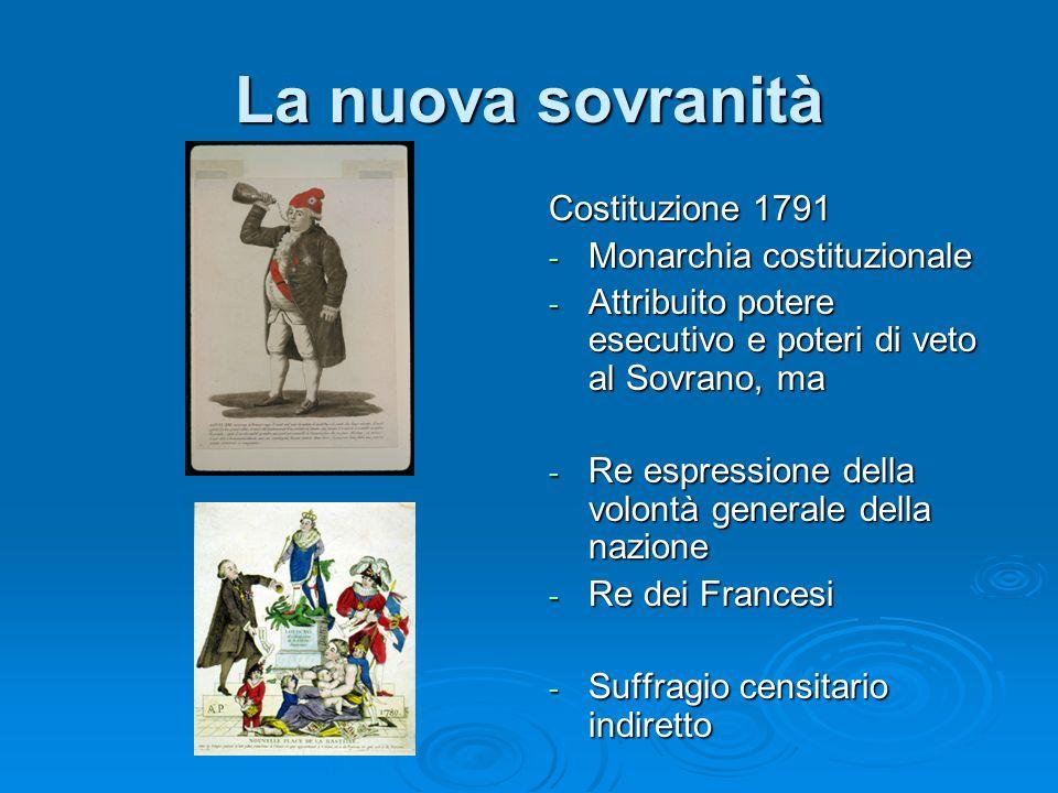 La nuova sovranità Costituzione 1791 - Monarchia costituzionale - Attribuito potere esecutivo e poteri di veto al Sovrano, ma - Re espressione della v
