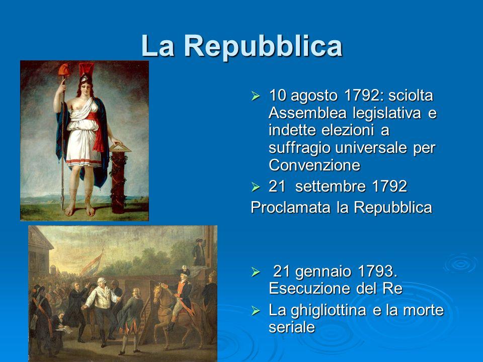 La Repubblica 10 agosto 1792: sciolta Assemblea legislativa e indette elezioni a suffragio universale per Convenzione 10 agosto 1792: sciolta Assemble
