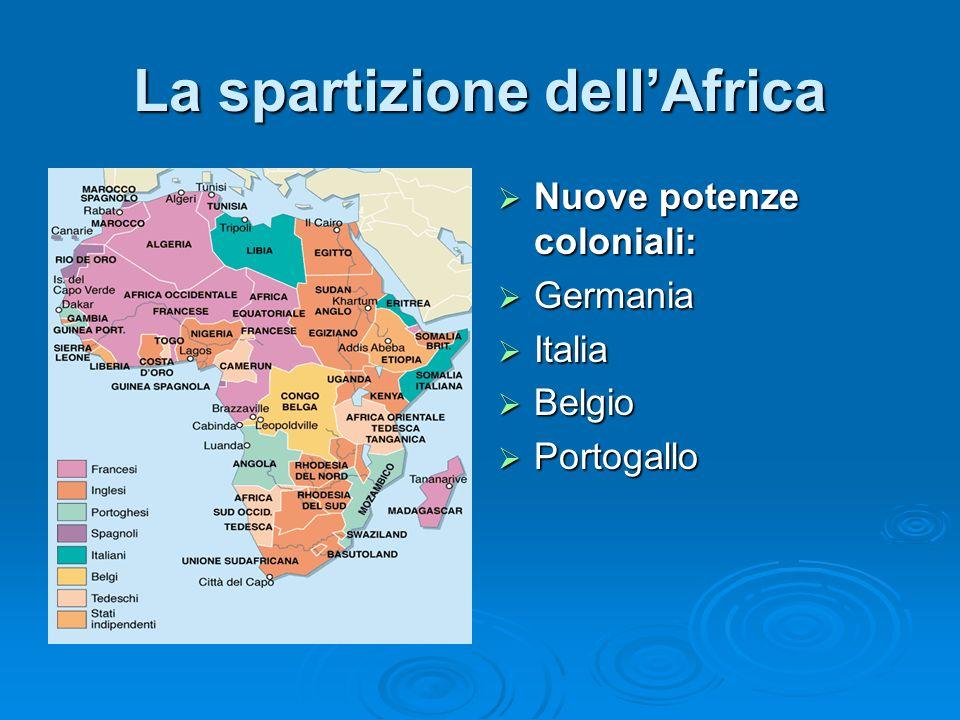 La spartizione dellAfrica Nuove potenze coloniali: Nuove potenze coloniali: Germania Germania Italia Italia Belgio Belgio Portogallo Portogallo
