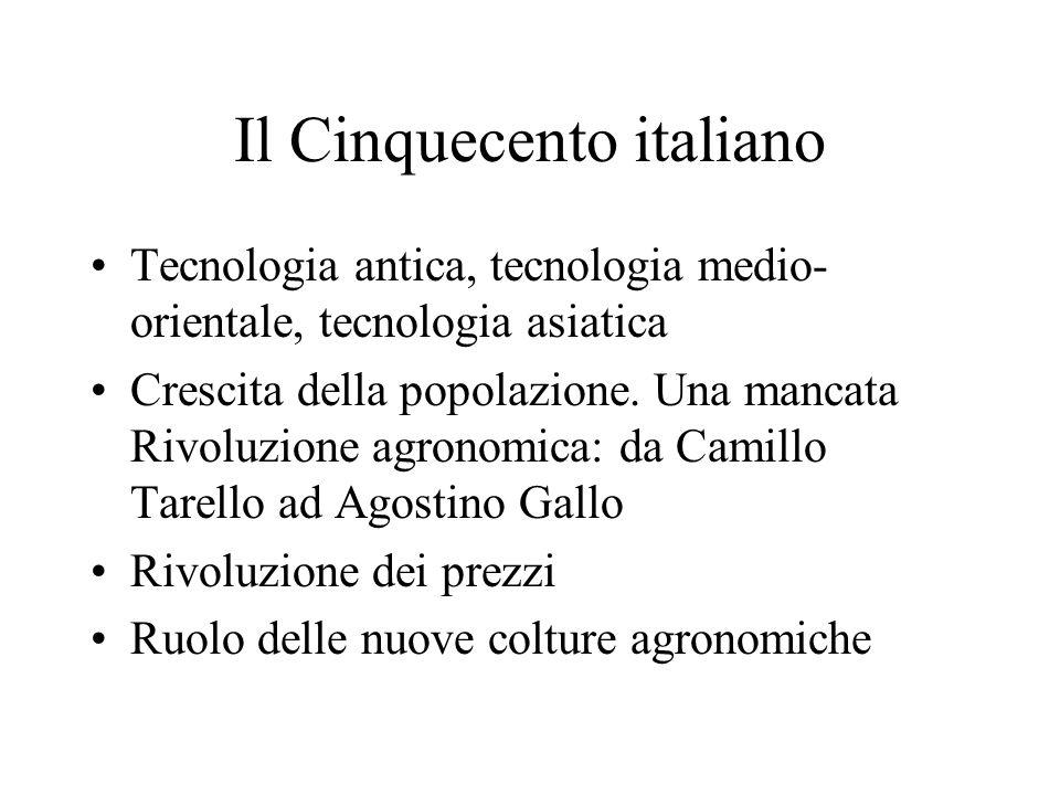 Il Cinquecento italiano Tecnologia antica, tecnologia medio- orientale, tecnologia asiatica Crescita della popolazione.