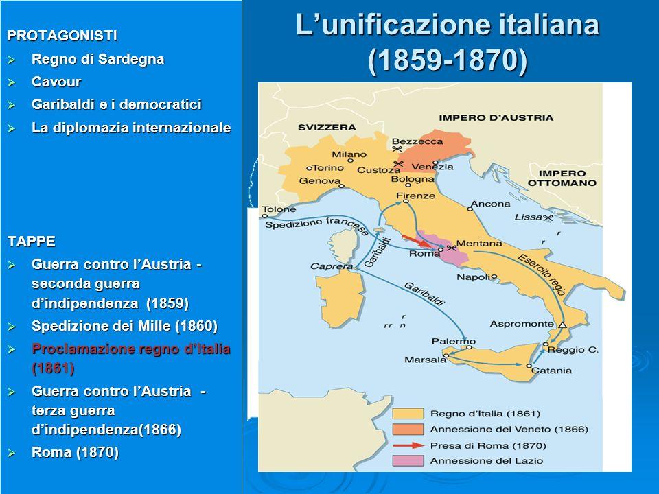 Lunificazione italiana (1859-1870) PROTAGONISTI Regno di Sardegna Regno di Sardegna Cavour Cavour Garibaldi e i democratici Garibaldi e i democratici