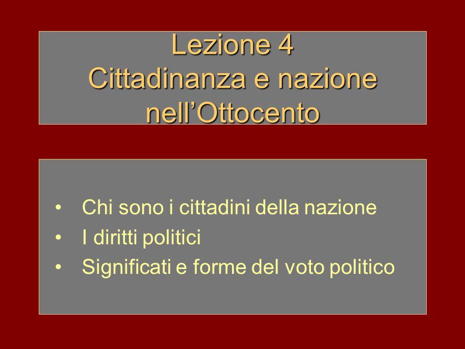 Lezione 4 Cittadinanza e nazione nellOttocento Chi sono i cittadini della nazione I diritti politici Significati e forme del voto politico