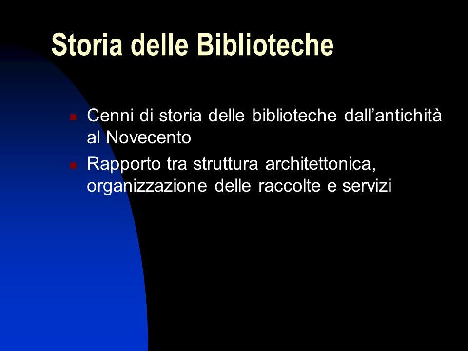 Storia delle Biblioteche Cenni di storia delle biblioteche dallantichità al Novecento Rapporto tra struttura architettonica, organizzazione delle racc