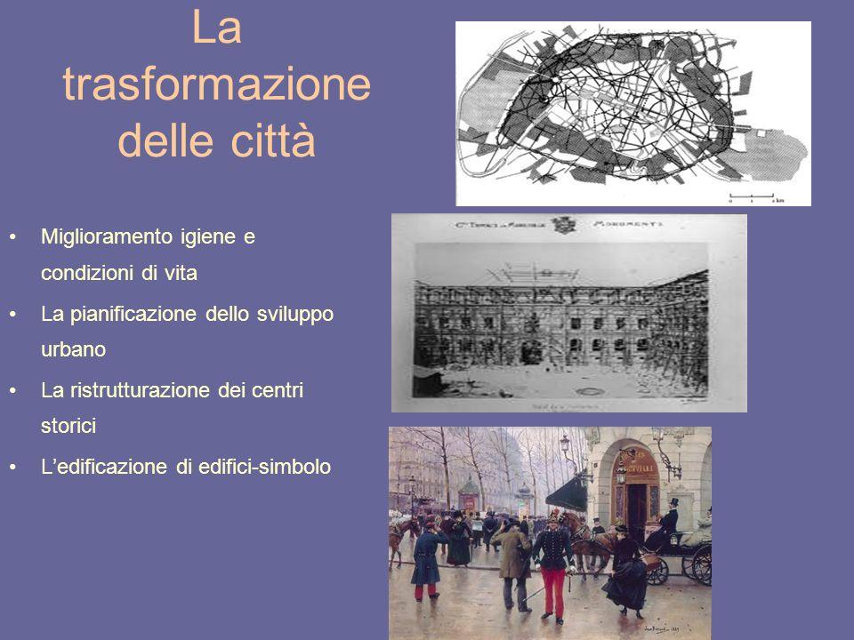 La trasformazione delle città Miglioramento igiene e condizioni di vita La pianificazione dello sviluppo urbano La ristrutturazione dei centri storici