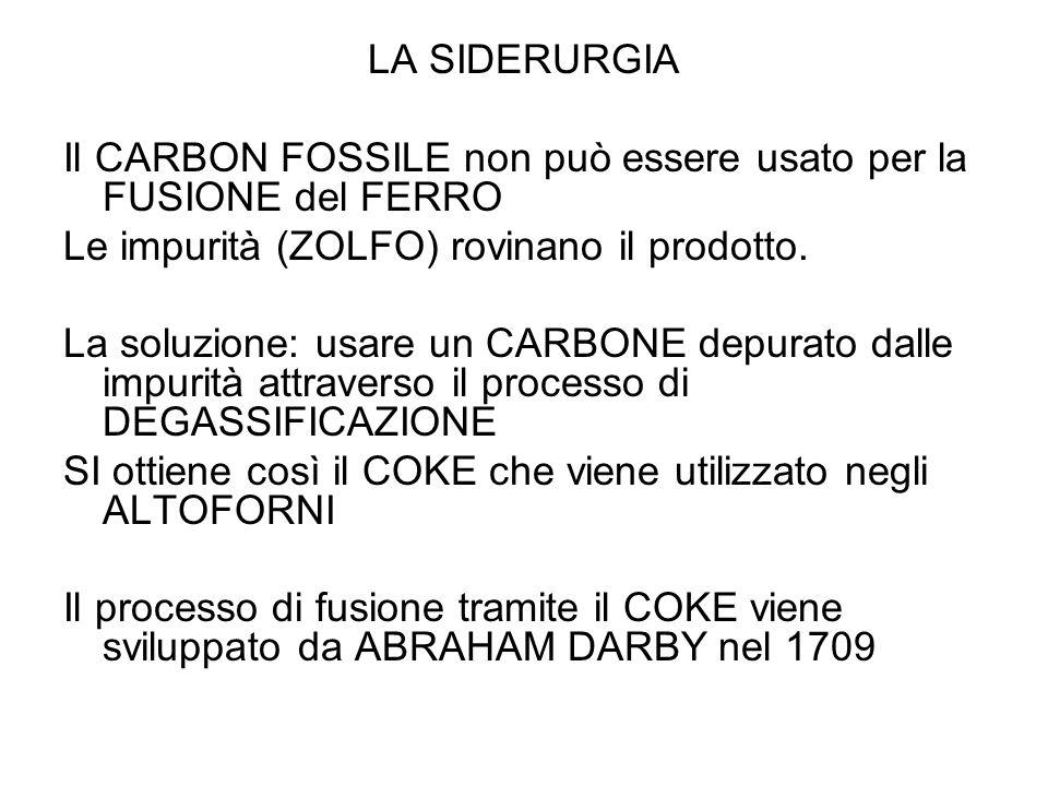 LA SIDERURGIA Il CARBON FOSSILE non può essere usato per la FUSIONE del FERRO Le impurità (ZOLFO) rovinano il prodotto. La soluzione: usare un CARBONE