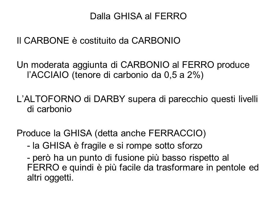 Dalla GHISA al FERRO Il CARBONE è costituito da CARBONIO Un moderata aggiunta di CARBONIO al FERRO produce lACCIAIO (tenore di carbonio da 0,5 a 2%) L