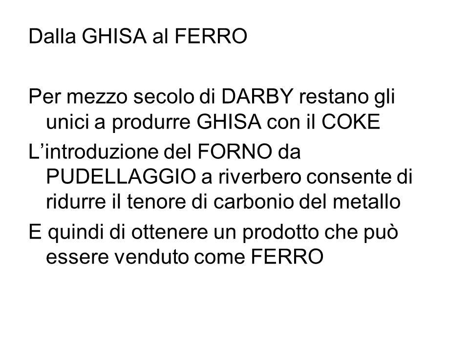 Dalla GHISA al FERRO Per mezzo secolo di DARBY restano gli unici a produrre GHISA con il COKE Lintroduzione del FORNO da PUDELLAGGIO a riverbero conse