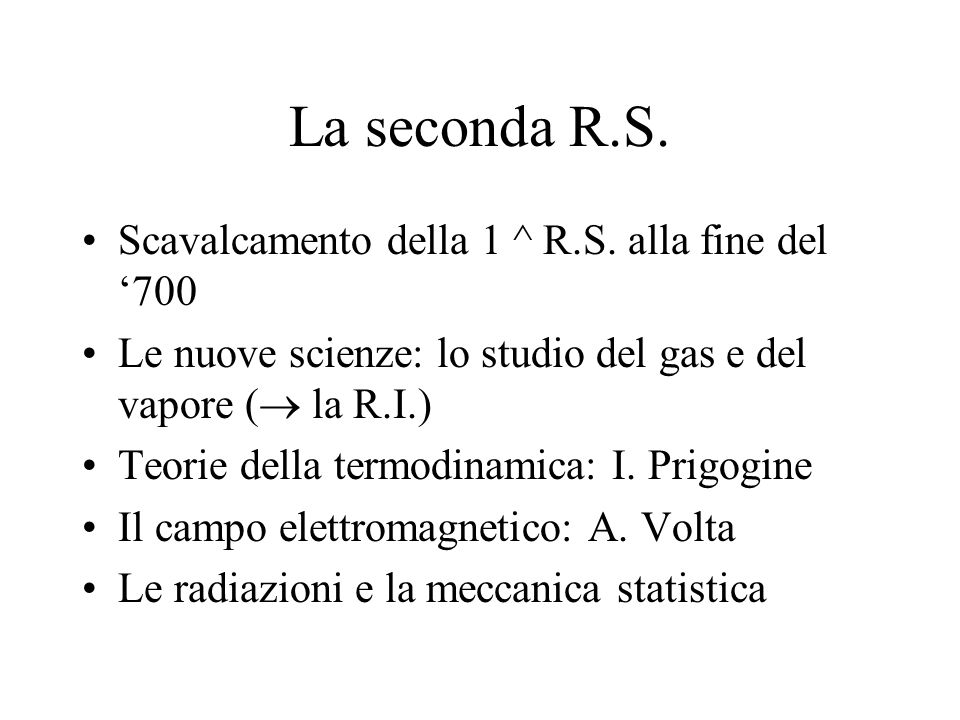 La seconda R.S.Scavalcamento della 1 ^ R.S.