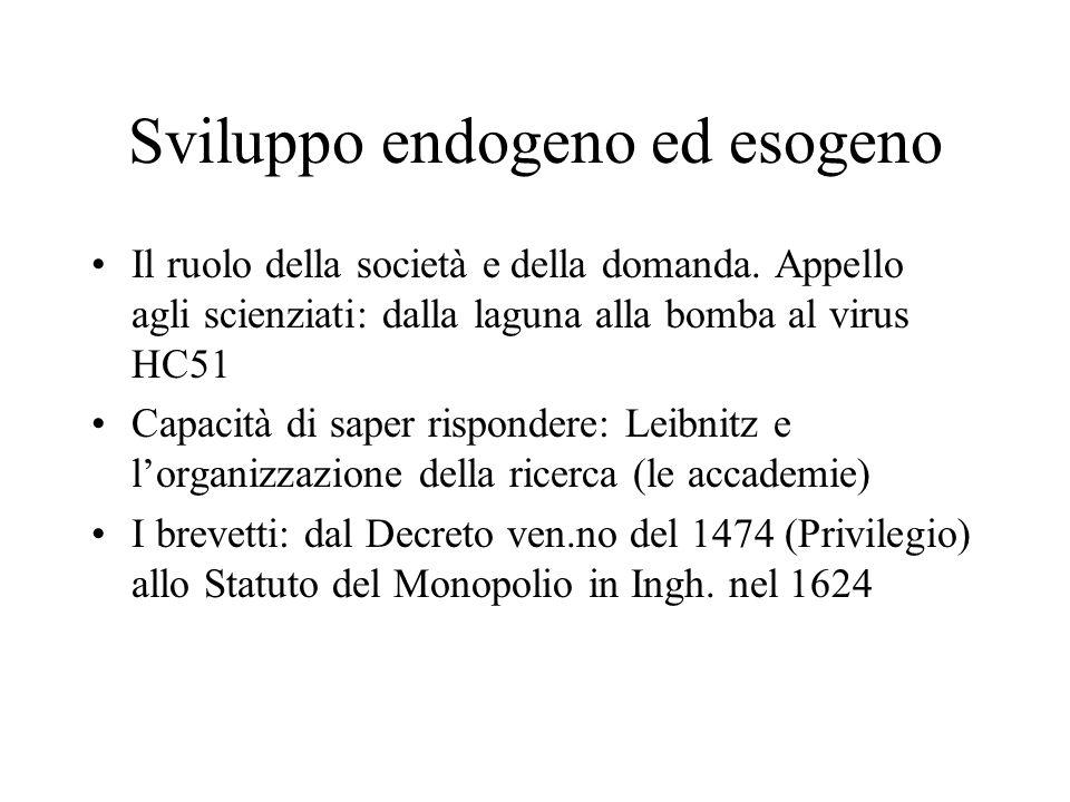 Sviluppo endogeno ed esogeno Il ruolo della società e della domanda.