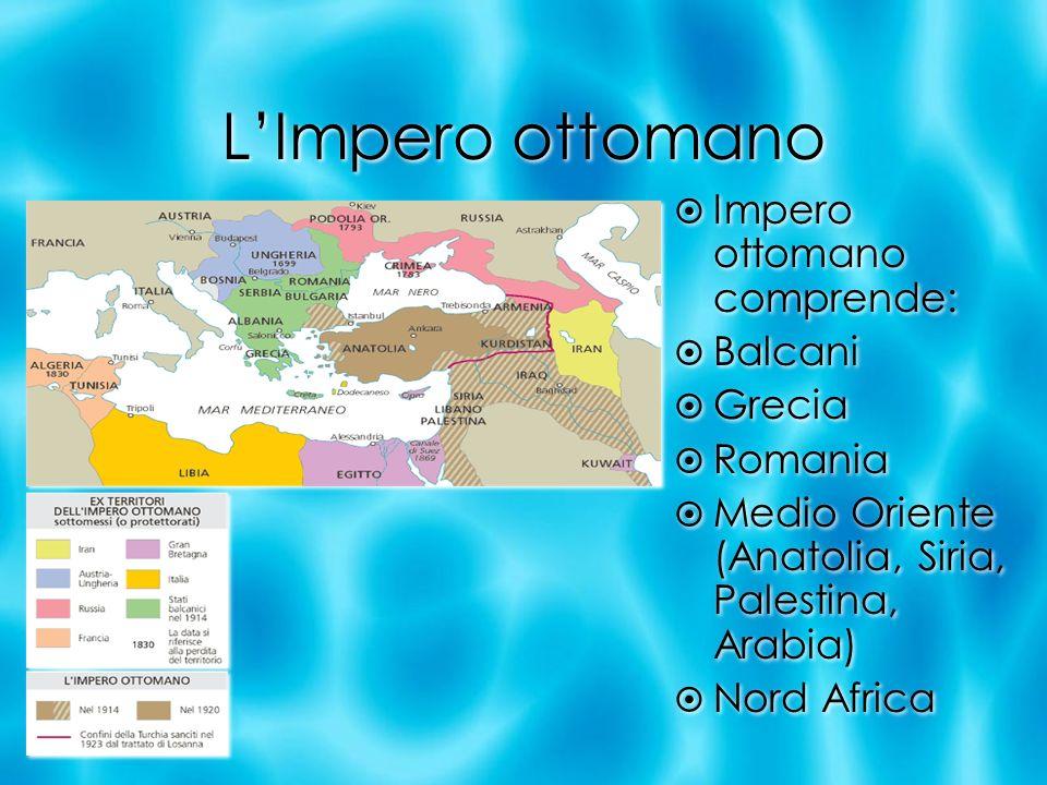 LImpero ottomano Impero ottomano comprende: Balcani Grecia Romania Medio Oriente (Anatolia, Siria, Palestina, Arabia) Nord Africa Impero ottomano comp