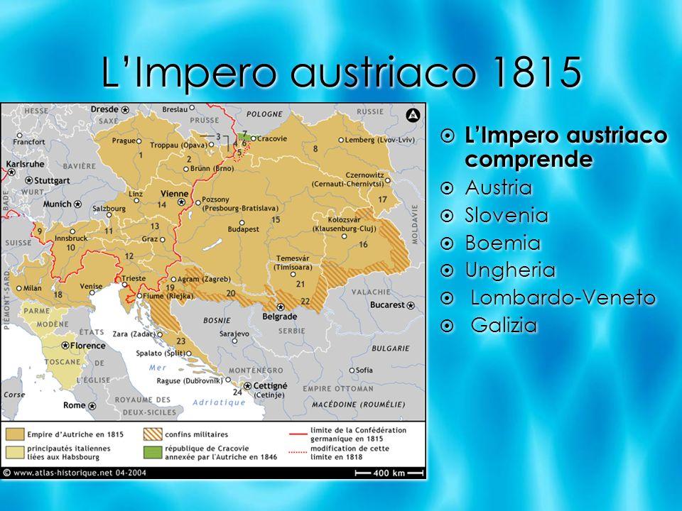 LImpero austriaco 1815 LImpero austriaco comprende Austria Slovenia Boemia Ungheria Lombardo-Veneto Galizia LImpero austriaco comprende Austria Sloven