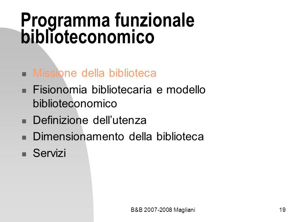 B&B 2007-2008 Magliani19 Programma funzionale biblioteconomico Missione della biblioteca Fisionomia bibliotecaria e modello biblioteconomico Definizio