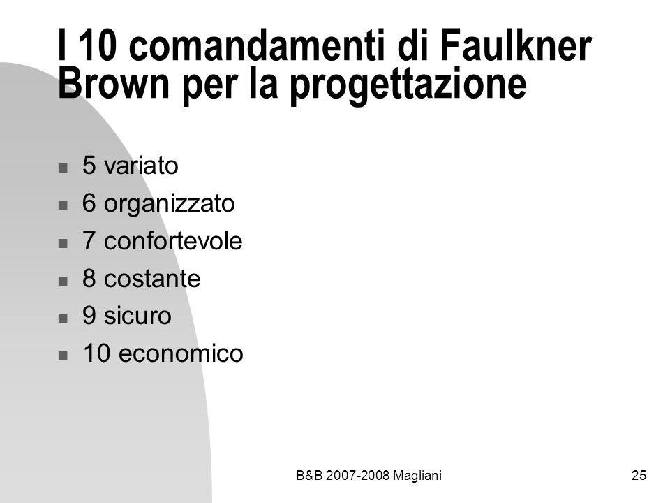 B&B 2007-2008 Magliani25 I 10 comandamenti di Faulkner Brown per la progettazione 5 variato 6 organizzato 7 confortevole 8 costante 9 sicuro 10 econom