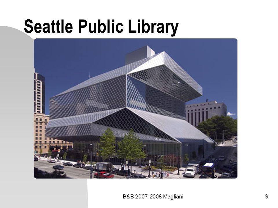 B&B 2007-2008 Magliani20 Programma edilizio prestazionale Aree funzionali della biblioteca Dimensionamento delle unità funzionali e ambientali