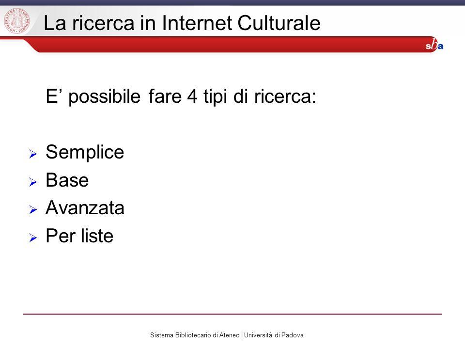 Sistema Bibliotecario di Ateneo | Università di Padova La ricerca in Internet Culturale E possibile fare 4 tipi di ricerca: Semplice Base Avanzata Per liste