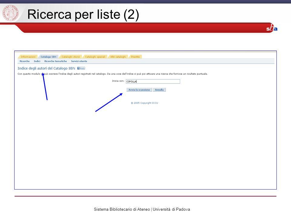 Sistema Bibliotecario di Ateneo | Università di Padova Ricerca per liste (2)