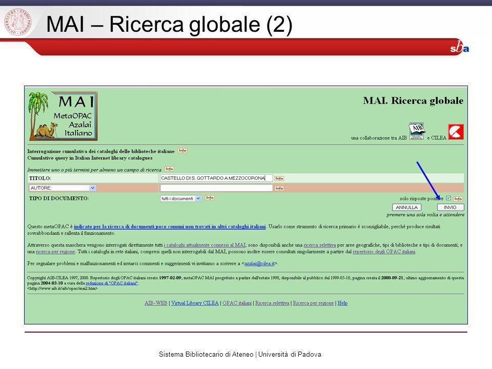 Sistema Bibliotecario di Ateneo | Università di Padova MAI – Ricerca globale (2)