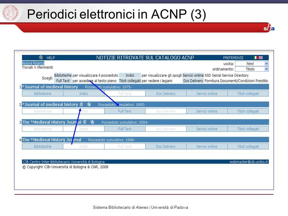 Sistema Bibliotecario di Ateneo | Università di Padova Periodici elettronici in ACNP (3)