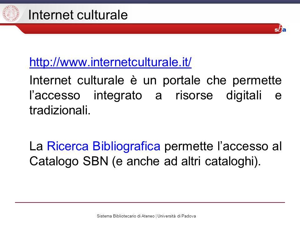 Sistema Bibliotecario di Ateneo | Università di Padova Il Catalogo SBN E il catalogo collettivo delle biblioteche aderenti al Servizio Bibliotecario Nazionale SBN è la rete delle biblioteche italiane che ha come scopo fornire servizi agli utenti.