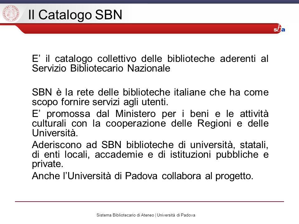Sistema Bibliotecario di Ateneo | Università di Padova Raffinamento ricerca (3)