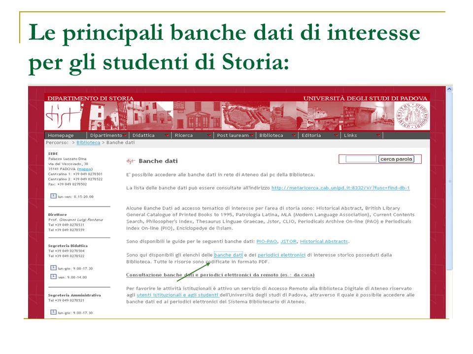 Le principali banche dati di interesse per gli studenti di Storia: