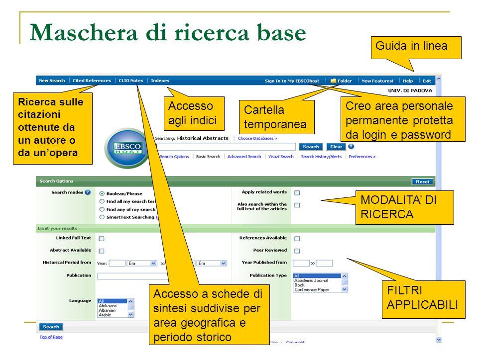 Maschera di ricerca base FILTRI APPLICABILI Guida in linea MODALITA DI RICERCA Accesso agli indici Accesso a schede di sintesi suddivise per area geog