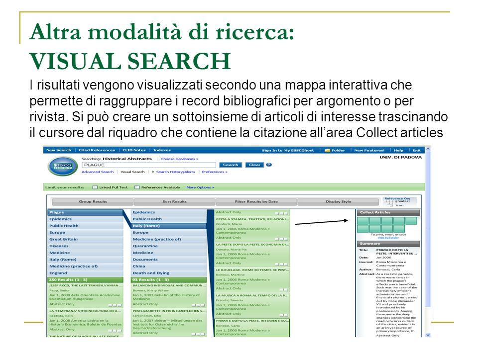 Altra modalità di ricerca: VISUAL SEARCH I risultati vengono visualizzati secondo una mappa interattiva che permette di raggruppare i record bibliogra