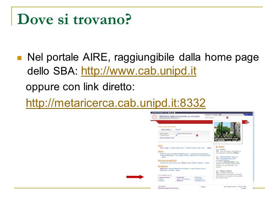 Dove si trovano? Nel portale AIRE, raggiungibile dalla home page dello SBA: http://www.cab.unipd.it http://www.cab.unipd.it oppure con link diretto: h